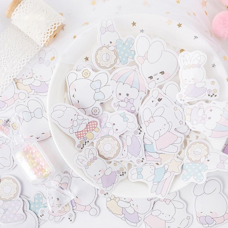 45pcs/Box Kawaii Cartoon Soft Rabbit Sticker Scrapbooking For Girl Diy Diary Journal Decorative Adhesive Label Cute Stationery