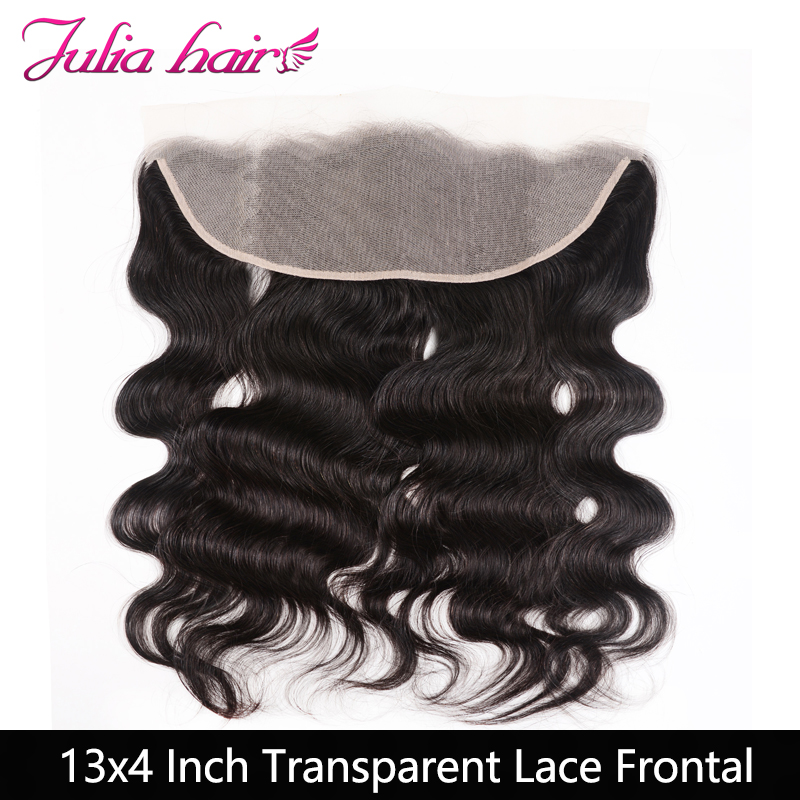Ali Julia Hair Transparent Lace Frontal Closure Brazilian Body Wave Human Hair 13*4'' Free Part 10 to 20 Inches Remy(China)