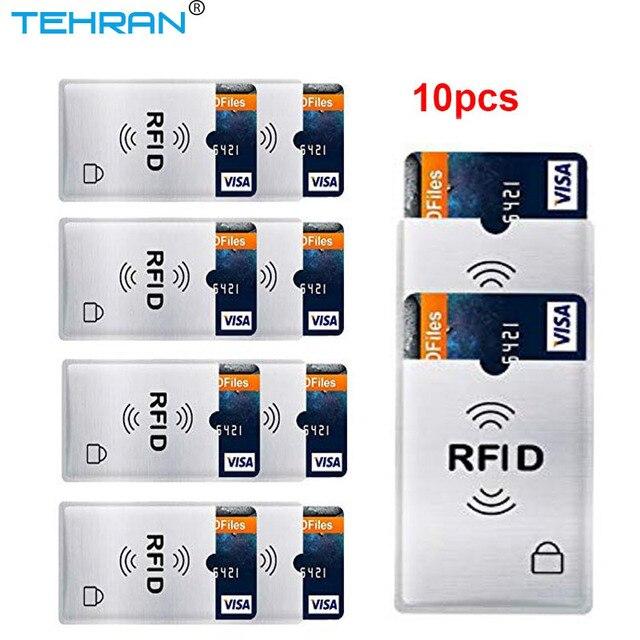 10 pcs Protetor Anti-Scan Mangas Anti Roubo de Cartão de Cartão RFID Cartão de Identidade Anti-Scan Manga Banco Portátil titular do cartão