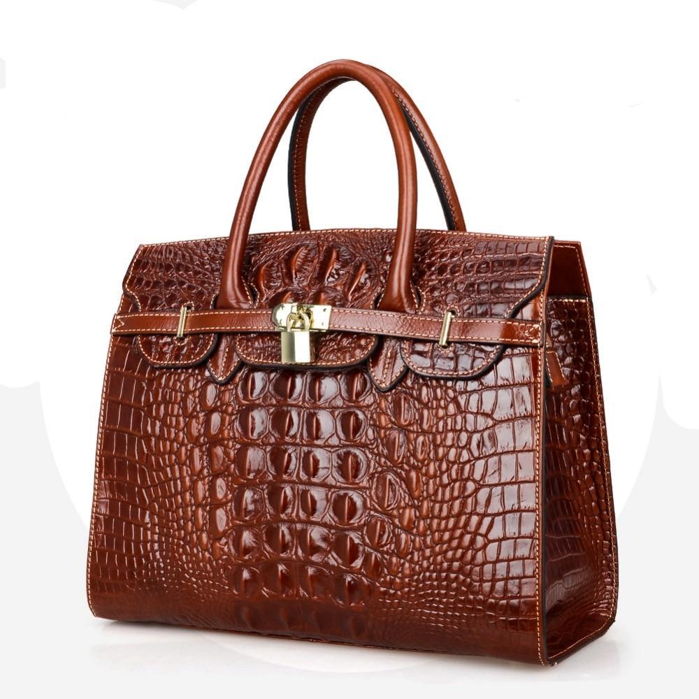 Fashion Crocodile Women Bag\Handbag Genuine Leather Tote Cowhide ladies' Casual Shoulder Bag Messenger Bag Big Bag~16B53 esufeir brand bag women genuine leather handbag fashion solid color cowhide shoulder bag large casual tote composite women bag