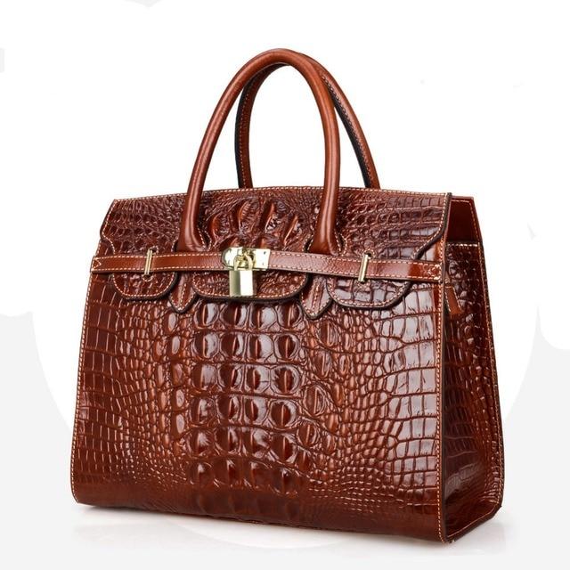 Fashion Crocodile Women BagHandbag Genuine Leather Tote Cowhide ladies' Casual Shoulder Bag Messenger Bag Big Bag~16B53