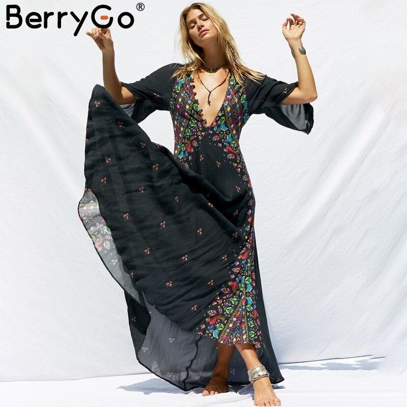 BerryGo Bohe floral kimono women long dress Deep v neck buttons chiffon black harajuku dress Casual beach summer dressess 2018
