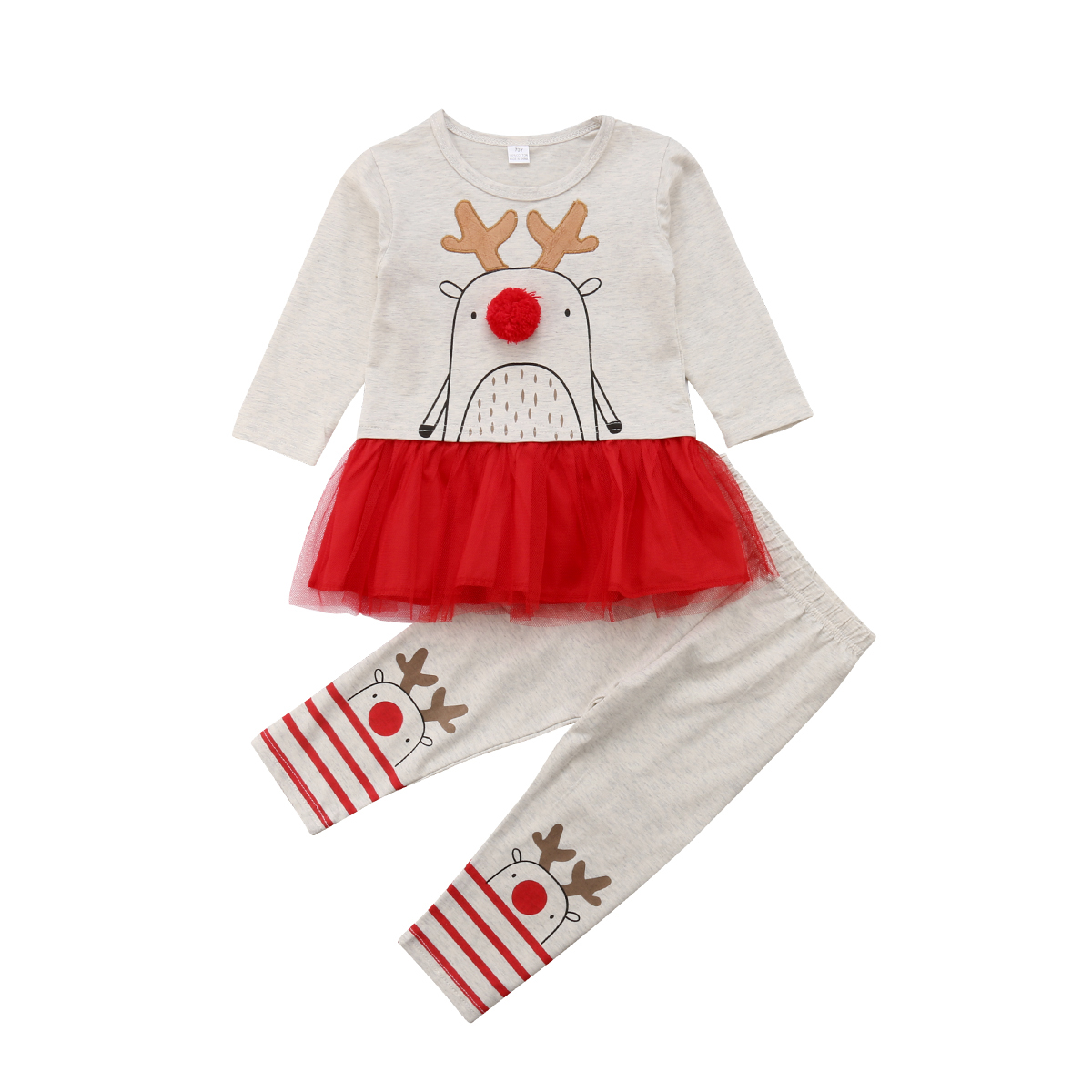 Xmas Christmas Toddler Kids Child Girls Baby Clothes Dress Tops+Pant Outfit Set