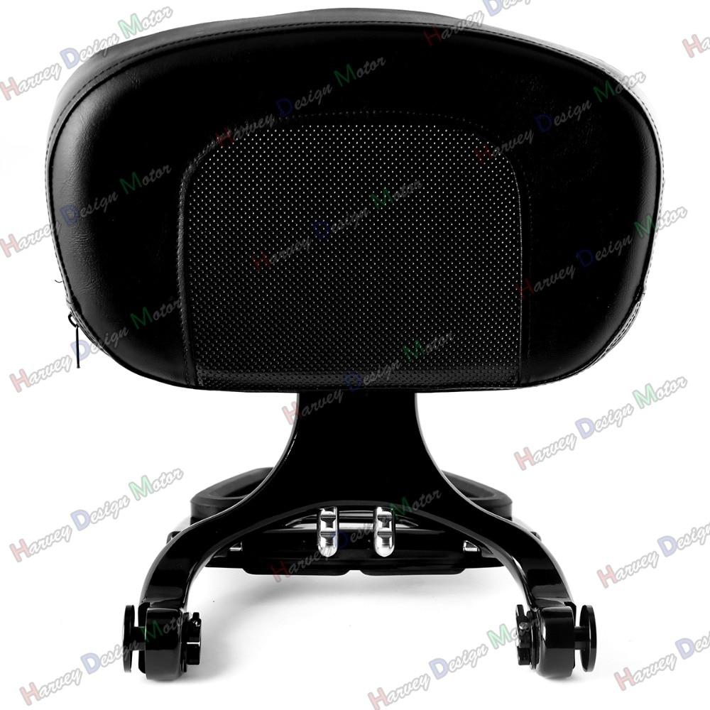 1X New Black Multi Purpose Adjustable Driver & Passenger Backrest For Harley Touring 97-08