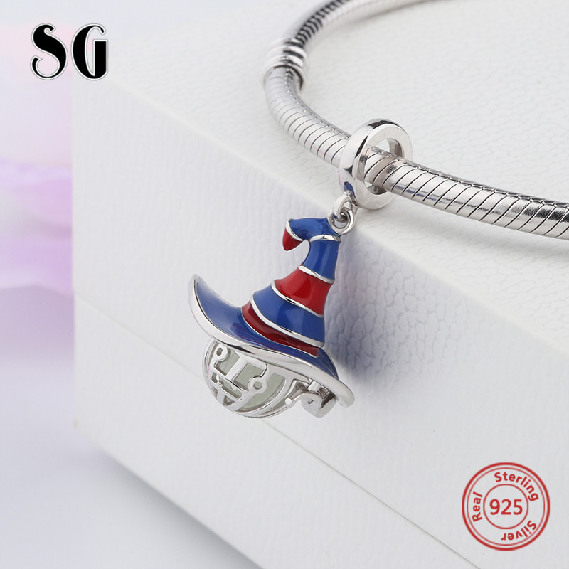 dropshipping 925 witch hat Glowing Pendant Charm Fit Authentic PANDORA bracelet fashion DIY Jewelry for Halloween Gifts
