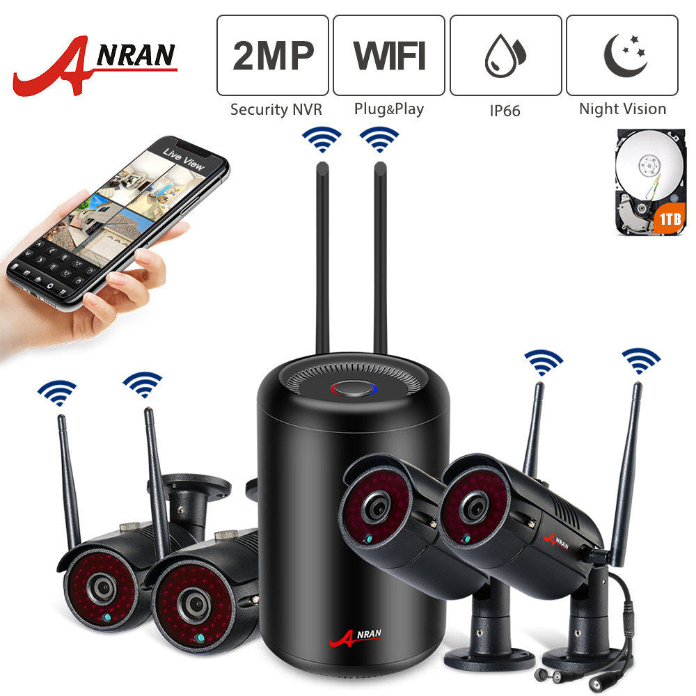 ANRAN 1080P HD 4CH Waterproof IP Night Vision Wifi Cameras Cylindrical NVR Outdoor Surveillance System With HDD Pre-installed