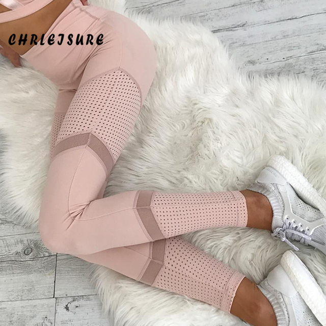 CHRLEISURE Work Out Pink Leggings Women Spring Ankle-Length Softe Mesh Legging Stitching Hollow Slim Push Up Lady's Legging