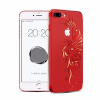 For Apple IPhone 7 7 Plus Case Gold Red Black Plated Clear PC Hard Back Cover
