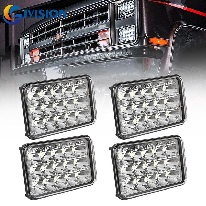 45w Rectangle 4x6 headlights h6054 led High Low Beam H4 Replace HID Xenon H4651 H4652 H4656 H4666 H6545 Projector lens(4PCS)