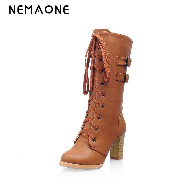 цены NEMAONE free shipping new platform high heels women riding boots woman Winter autumn fashion buckle mid calf shoes womens boots
