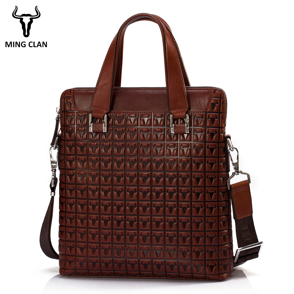 Mingclan Men s Genuine Leather Bag Briefcases Male Business Computer Laptop Bags Print Crossbody Suitcase Office