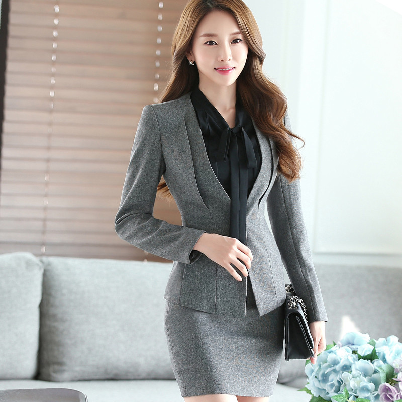 Gray-Two-Piece-Ladies-Formal-Skirt-Suit-Office-Uniform-Designs-Women-Business-Suits-for-work