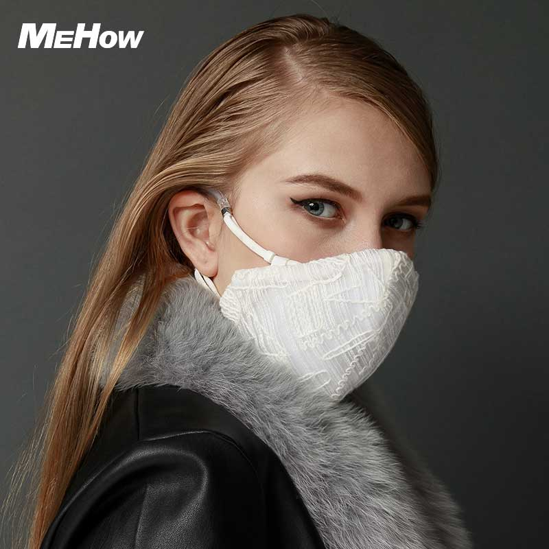 MeHow White Mesh Cloth Embroidery Mouth Mask for Women PM2.5 Anti Haze Dust Mask Nose Filter Beauty Health Care Mouth-muffle adult pm2 5 dust mask anti haze cotton masks mouth muffle with exhale valve filter