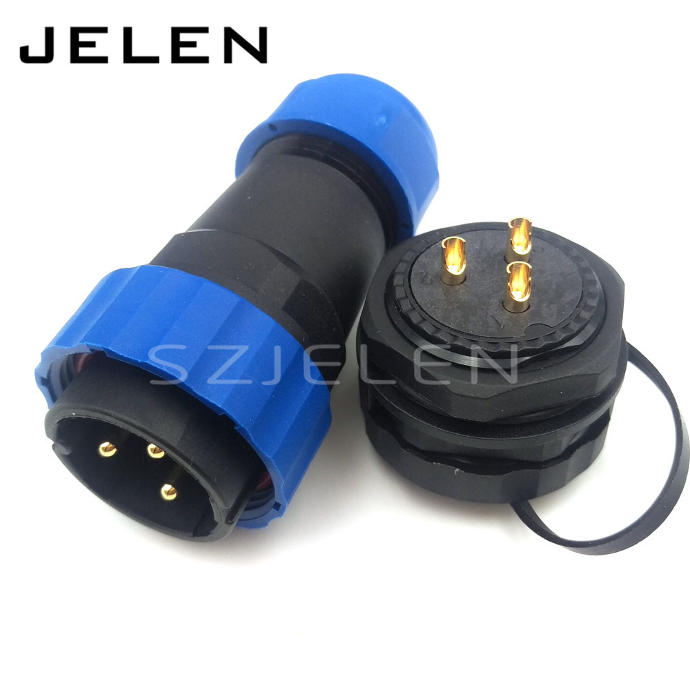 SD28TP-ZM, 3 pin Waterproof and dustproof connectors male female,IP67, LED 3 pin power cable wire connectors, Panel cutout 28mm