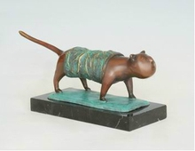 Bronze Cat Statue Animal Figurine  House Decoration Lost Wax  Casting Brass Pet Cat sculpture