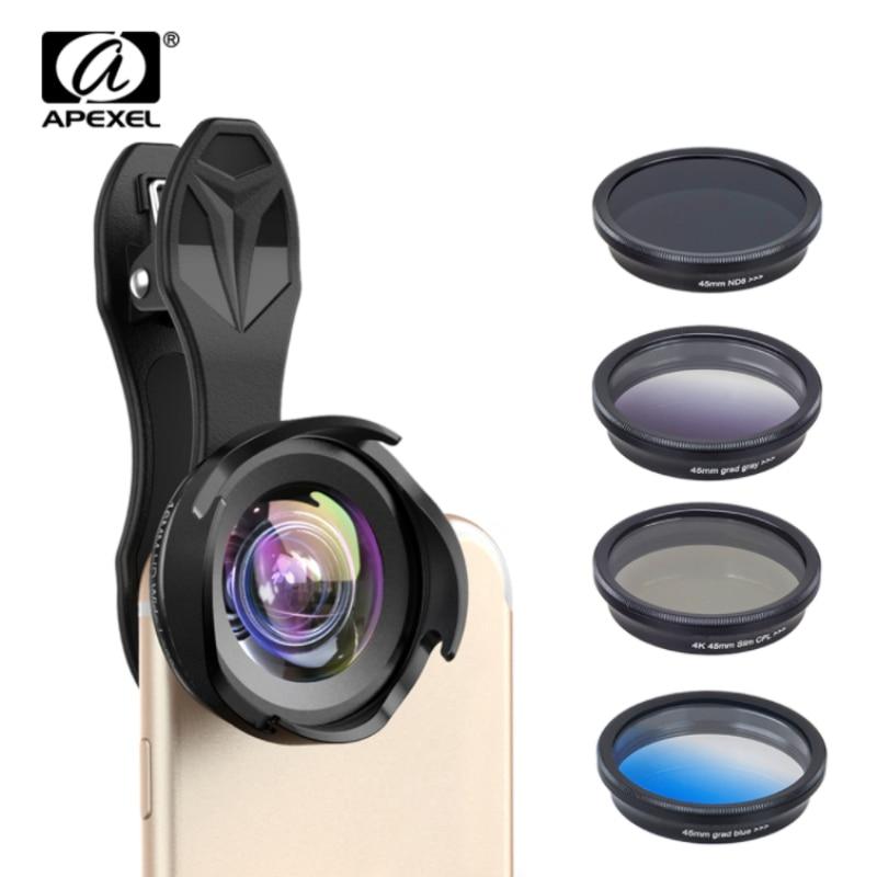 Kit d'objectif pour appareil photo tout-en-un APEXEL objectif professionnel large/macro avec filtre grad CPL et filtre pour téléphones iphone ex et android