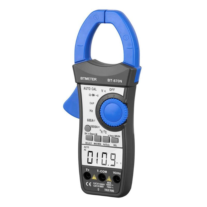 Auto Range Digital Clamp Meter 6000 Counts DC/AC 200A 600V Resistance Capacitance Frequency Temperature NCV Multimeter smart digital clamp meter 6000 counts ac dc 600a current resistance capacitance bside acm22a auto range multimeter