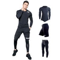 Sport Suit For Men's Gym Training Workout Clothes Shark print Running Compression Set MMA Rashgard Male kit Sportwear 2019