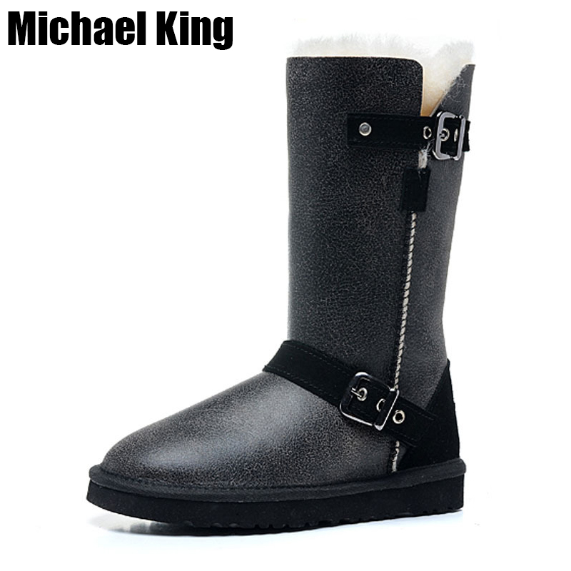 Top Quality Genuine Sheepskin Leather Woman Snow Boots Fashion Waterproof Winter Boots 100 Natural Fur Warm