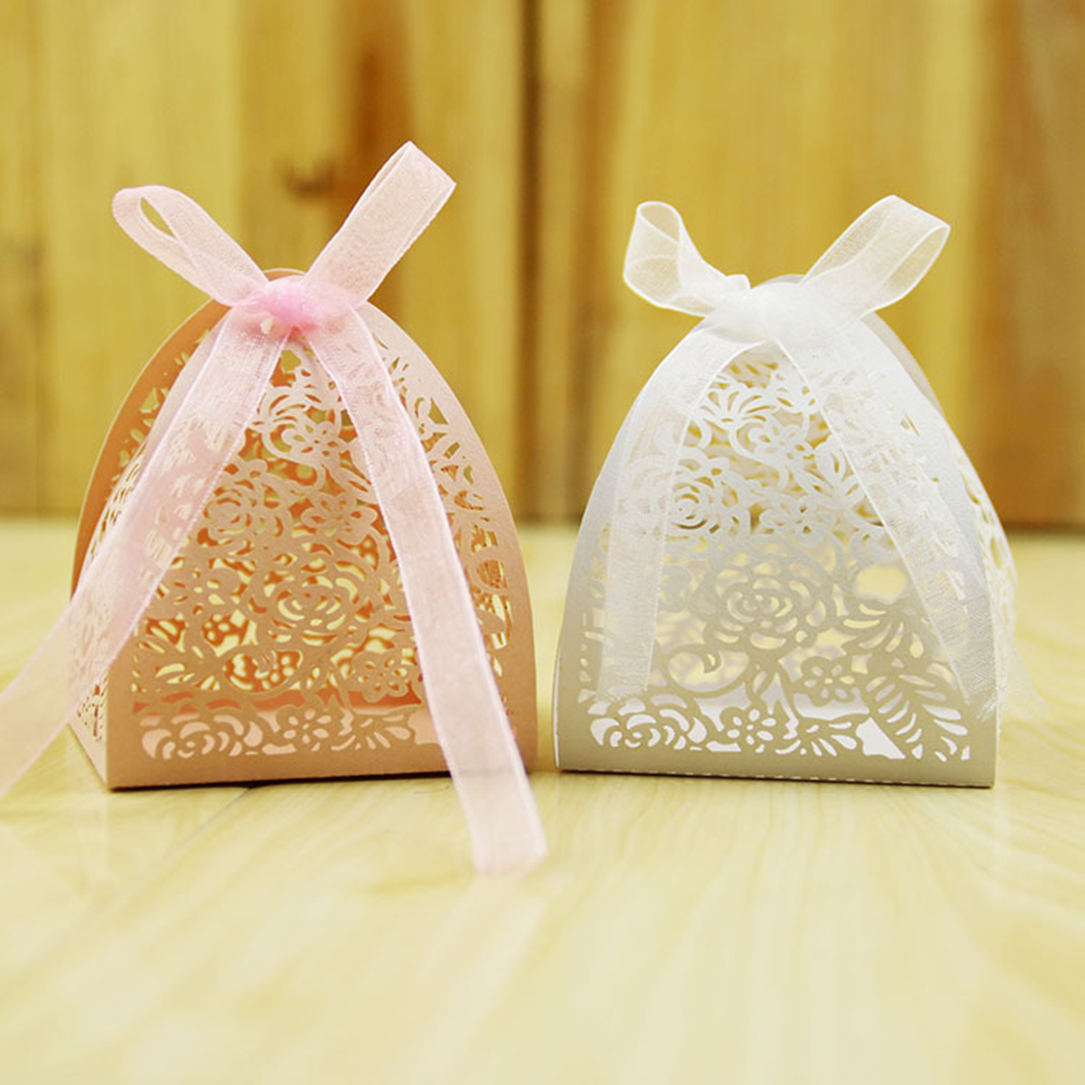 Wedding Gift Boxes: New Hollow Gift Box 50Pcs Laser Cut Lace Flower Wedding