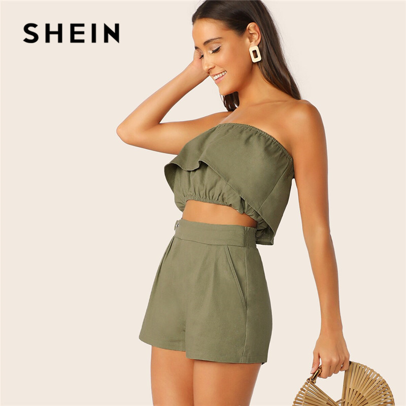 SHEIN Ruffle Overlap Bandeau And Shorts 2 Piece Set Women Summer Sleeveless Crop Top Matching Sets Vacation Casual Two Piece Set