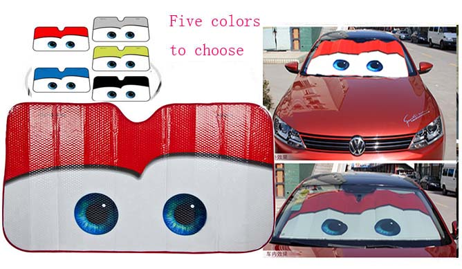 5 Colors Eyes Heated Windshield Sunshade Car Window Windscreen Cover Sun Shade Auto Sun Visor Car