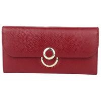 Explosive first layer cowhide 2 fold ladies wallet fashion simple purse wild large capacity clutch