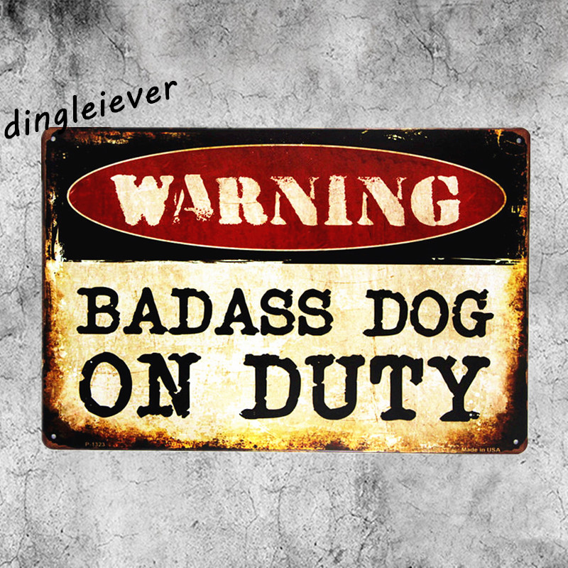 Предупреждение задира собака на обязанность металлический знак винтаж Берлога знаки и декор