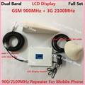 Pantalla LCD! W-CDMA 2100 MHz 3G 2G GSM 900 Mhz Amplificador de Señal de Teléfono Celular amplificador de Señal UMTS GSM de Doble Banda Móvil repetidor Amplificador