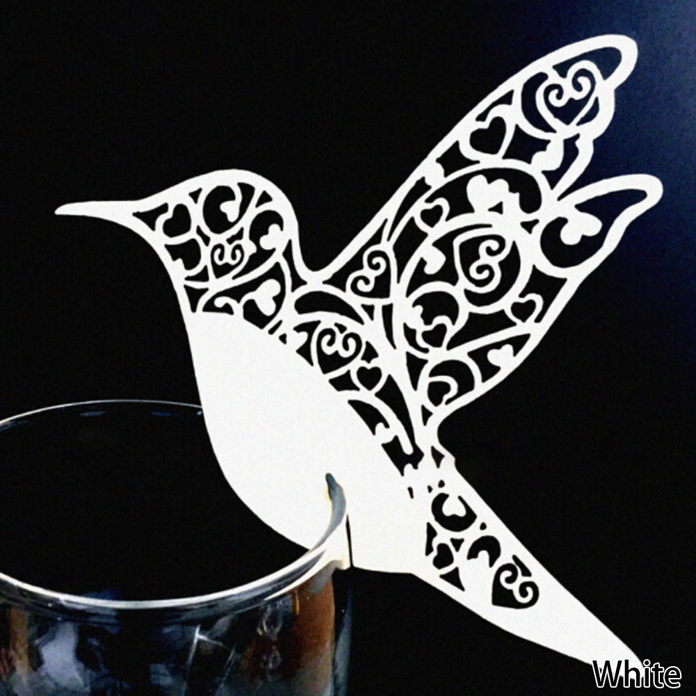 50pcs DIY Place Card Flying Birds Cups Glass Wine Wedding Name Cards Laser Cut Pearlscent Paper Cards Birthday Party Decoration