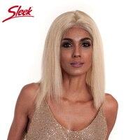 613 блондинка парик шнурка Короткие человеческих волос Боб парики 150% Плотность Боб Cut sleek Реми прямые волосы бесклеевого парик для Для женщин