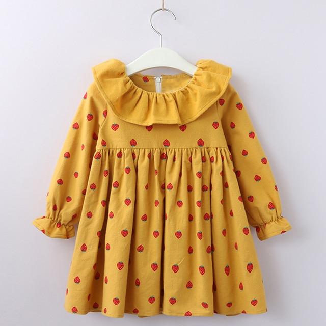 Осеннее платье для девочек 2018 Новый стиль дети точки узор длинный рукав весенняя одежда платье От 2 до 7 лет Детские Симпатичные Клубника платье одежда