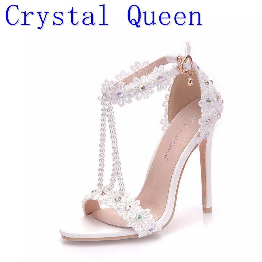 994d788f9 Crystal Queen Women Sandals White Lace Flowers Pearl Tassel Bridal Super  Heel Fine High Heels Slender
