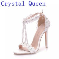 Crystal Queen Women Sandals White Lace Flowers Pearl Tassel Bridal Super Heel Fine High Heels Slender Bridal Shoes Wedding Shoes