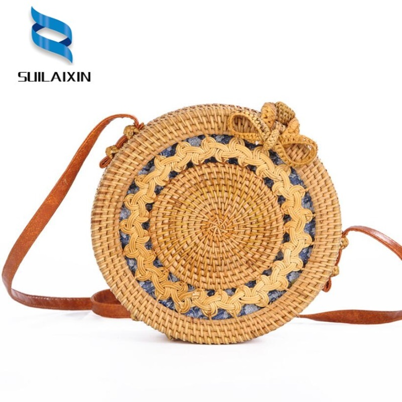 Handmade Bali Rattan Woven Round Handbag Vintage Retro Straw Rope Knitted Messenger Bag Lady Fresh Paper Bag Summer Beach Tote