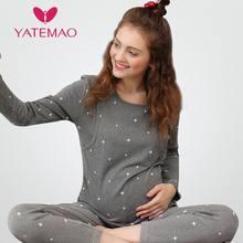 939826ed0ed13 YATEMAO vêtements d allaitement maternité pyjamas coton enceinte pyjama  ensemble maternité à manches longues hauts
