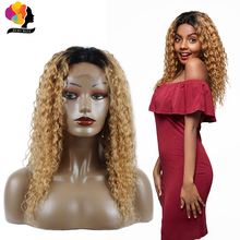 Remyblue Blonde Lace Front Wig 1B/27 Water Wave 180 Density Lace Front Human Hair Wigs Ombre Peruvian Remy Hair Wigs For Women