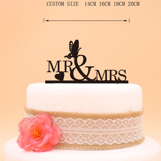 Glitter Silver Mr & Mrs heart butterfly Wedding Cake Topper Gold ...