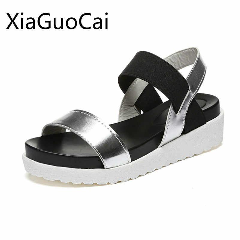 ec903431c Roma Style Fashion White Women Sandals Summer Platform Pvc Female Flat  Sandals Shallow Solid Women Flat
