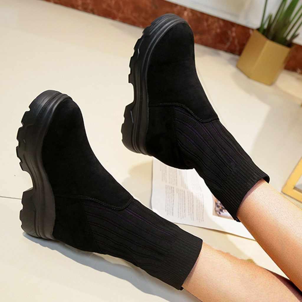 Siyah platform çizmeler yarım çizmeler kadınlar için yuvarlak ayak süet çizmeler bayanlar kadın botları düz botines mujer 2019 plataforma 7 #3.5