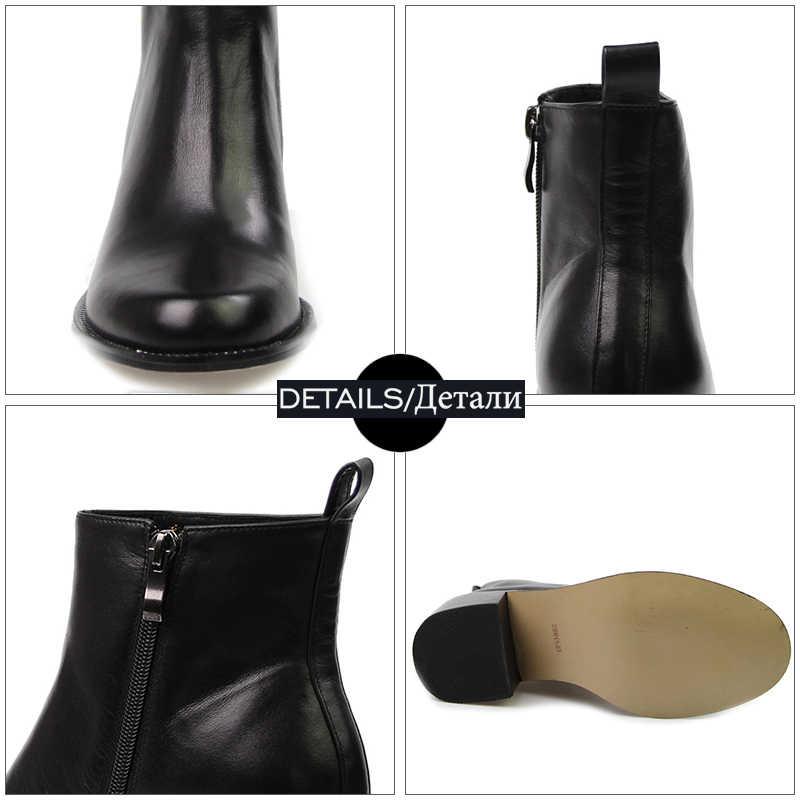 ISNOM 2018 Yeni Yüksek Kare Topuklu Ayakkabılar yarım çizmeler Gerçek Deri Kadın Kışlık Bot Superstar Chelsea Çizme Fermuar Kadın Ayakkabı