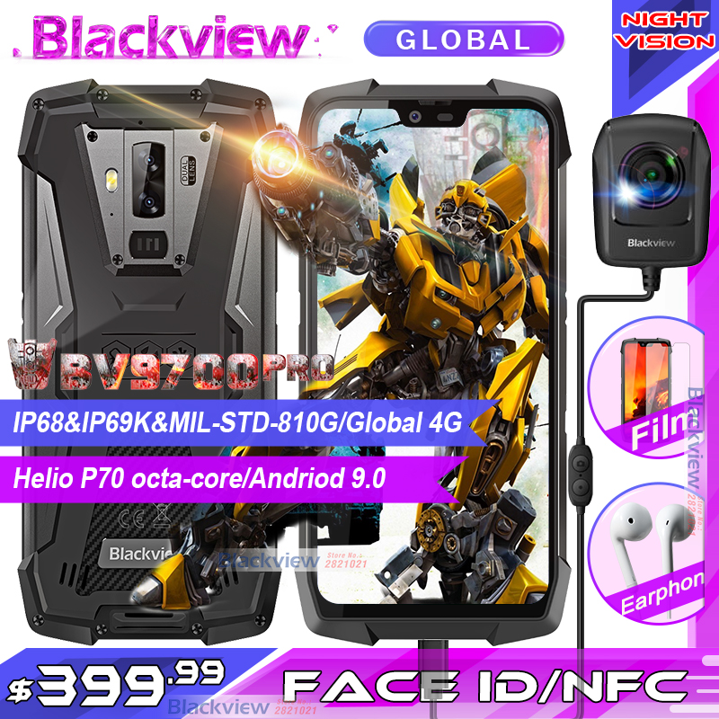 Téléphone portable robuste 2019 Blackview BV9700 Pro IP68/IP69K Helio P70 Octa core 6GB + 128GB 5.84 IPS 16MP + 8MP 4G Smartphone avec identification faciale
