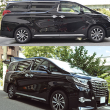 цена на JY SUS304 Stainless Steel Door Side Molding Trim Garnish Cover Car Styling Sticker Accessories For TOYOTA ALPHARD 30 2015 on