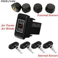 Pershn U912 TPMS Car Tire Pressure Monitoring System with 4 Internal /External Sensors for TOYOTA for Honda