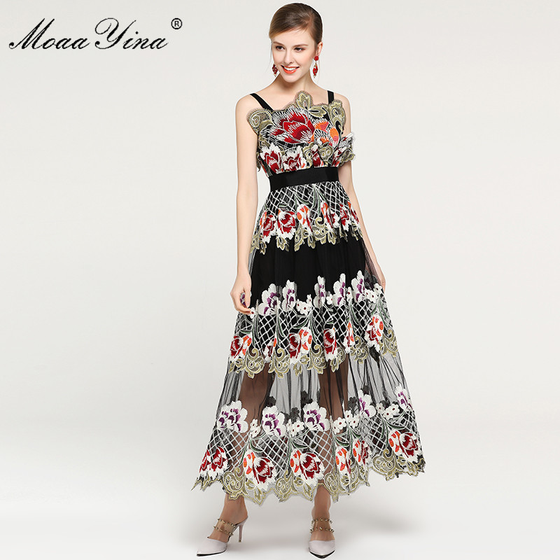 MoaaYina Spaghetti strap Floral Mesh Embroidery Dress Summer Fashion Designer Women Dress Sexy Elegant Party Runway