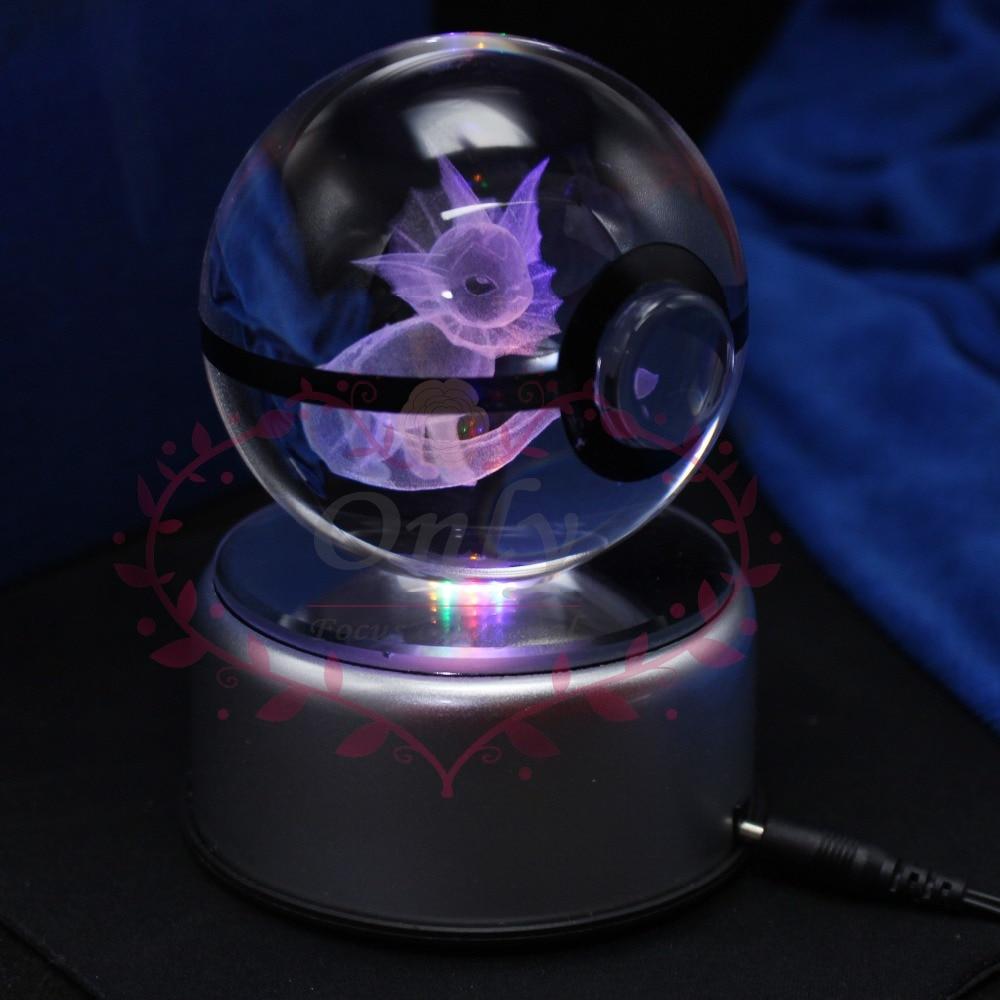 Doprava zdarma Speciální cool 3D křišťálové sklo design Vaporeon Pokemon Go Ball jako Chirstmas dárky pro dívky Boys
