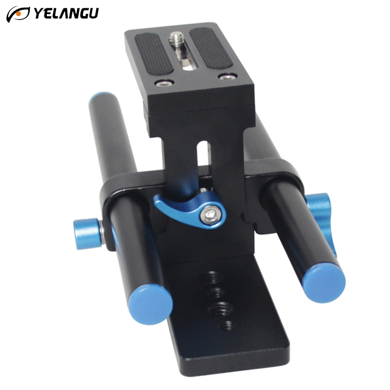 YELANGU Camera Track Rail Slider Baseplate 15mm Rod System 1/4& 3/8 Quick Release Plate for DSLR Shoulder Mount Follow Focus