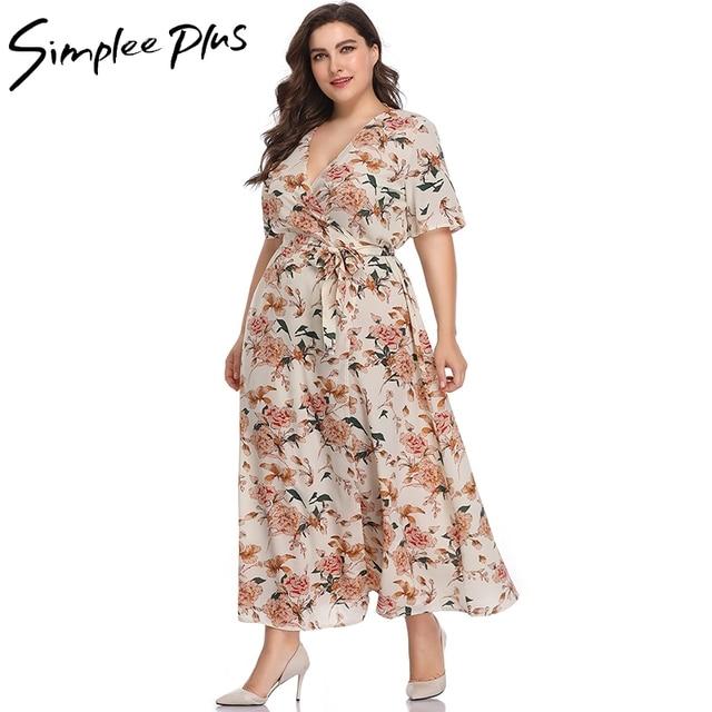 Simplee Plus Women Long Floral Wrap Dress Plus Size Maxi Floor ...