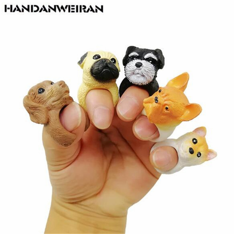 5PCS Cute Dog Head Bulldog Ring Funny Finger Puppet Toys Creative Korean Version Of The Personality Fingers Toy For Kid Gift 4CM