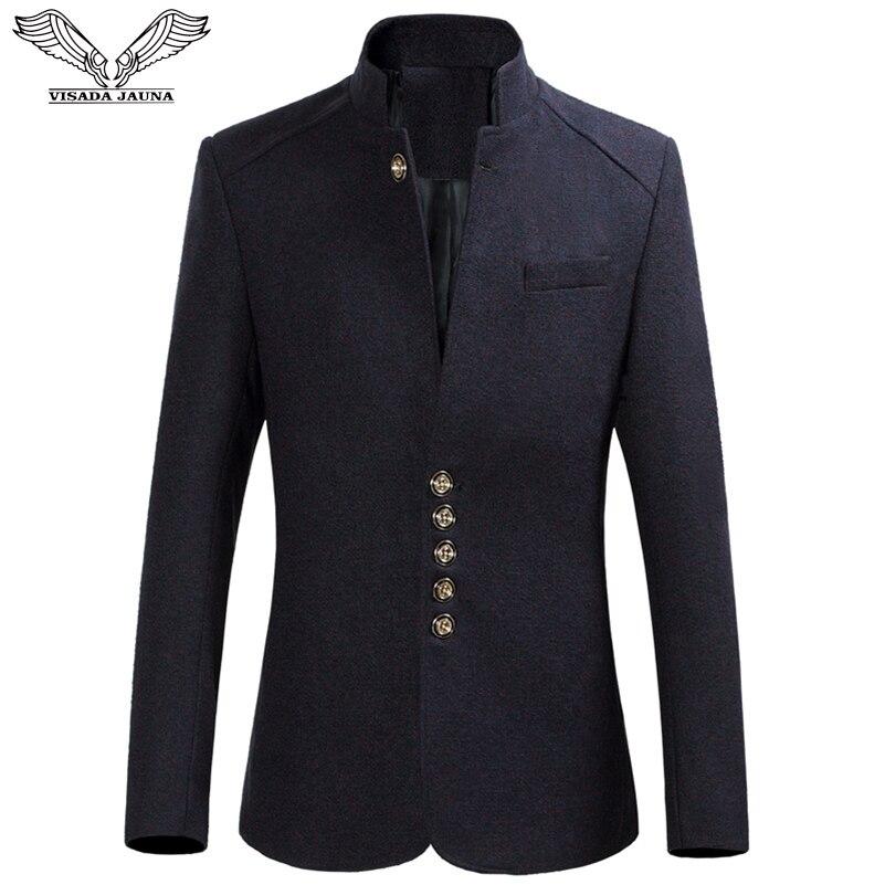 VISADA JAUNA Men Suit Coat Men 's Suits Standing Collar Business Causal Slim Fit Male Solid Tops Clothing For Men Outwear 6XL